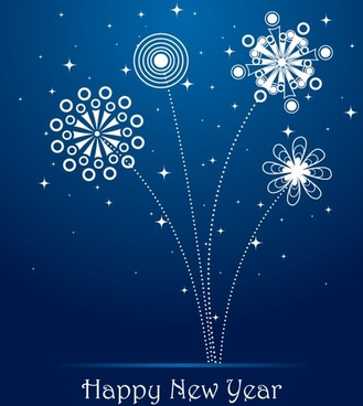 new year banner fireworks icons classical flat decor