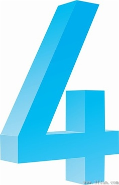 blue number four icons vector