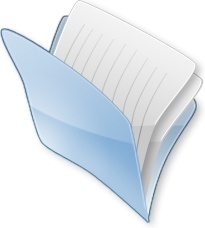 Blue open document folder