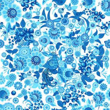 blue ornaments floral pattern vector