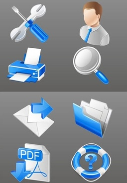 computer icon templates modern blue white 3d symbols