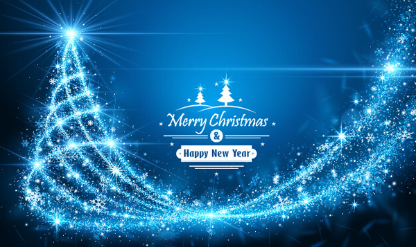 blue rays christmas tree vector background