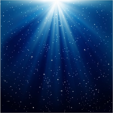 Blue Rays of Light and Stars