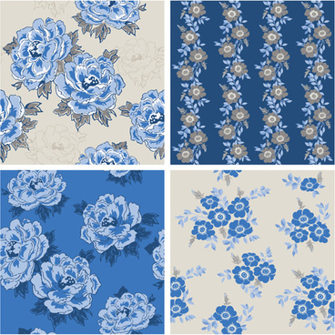 blue retro flowers pattern seamless vector