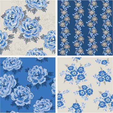 blue retro flowers pattern seamless vector