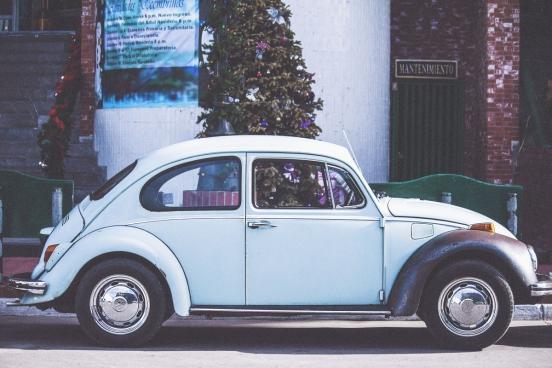 blue retro vw beetle