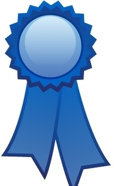 Blue ribbon decoration free vector