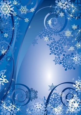 christmas background twinkling blue snowflakes decor