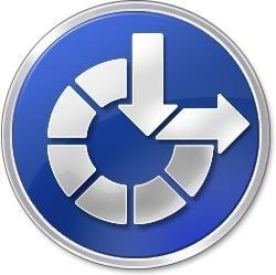Blue round button