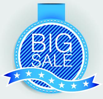 blue sale labels vector set