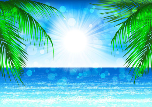 blue sea and sun background vector graphics