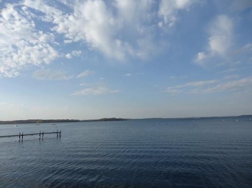 blue skies over lake mendota in madison wisconsin