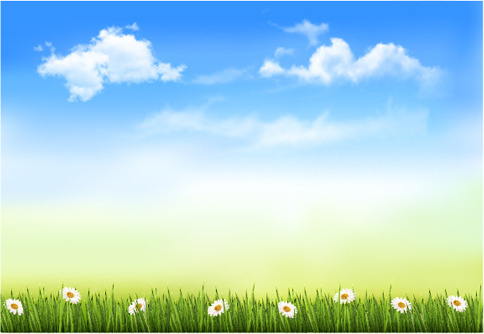 blue sky and white clouds in spring design vector