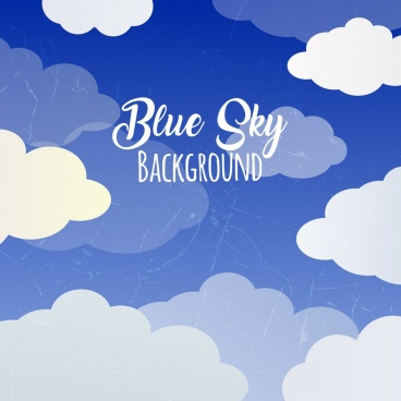 blue sky background white clouds decoration retro design