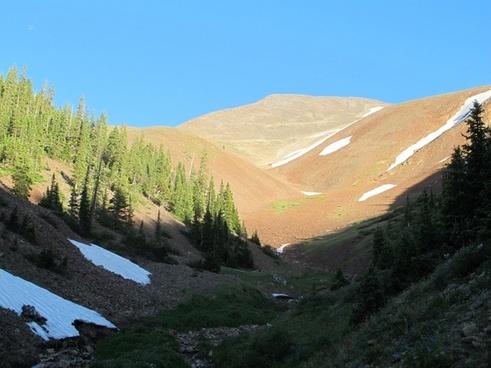 blue sky mountain shadow