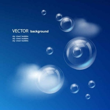 blue sky with bubbles vector background graphics