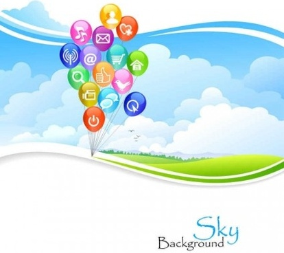 blue sky with web icons vector background