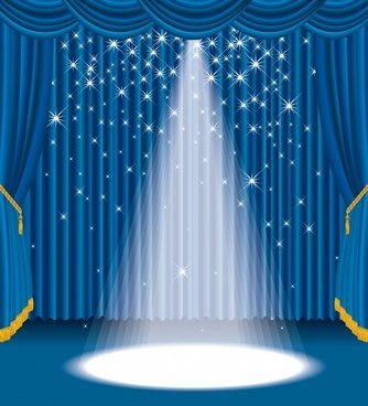 stage background sparkling spot light elegant blue curtain