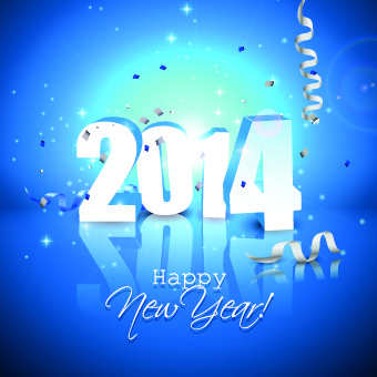 blue style14 new year christmas background vector