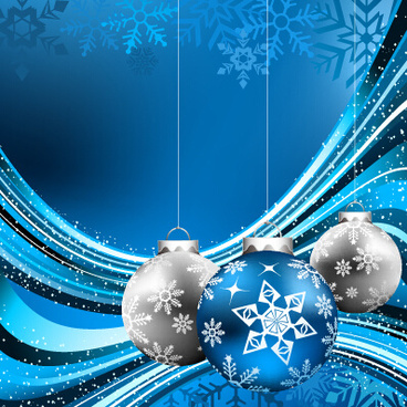 blue style christmas baubles and snowflake backgroud