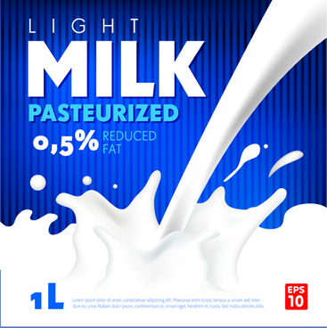 blue style milk poster creative vector
