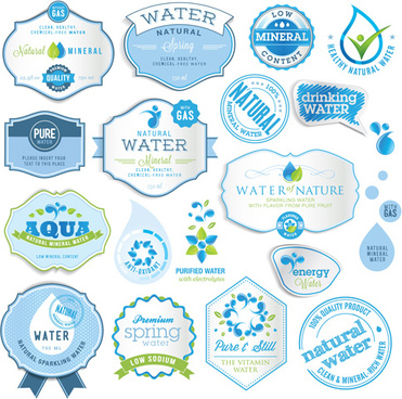 blue style water labels vector