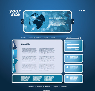 blue style website template vector