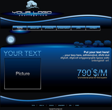 blue style website template vectors