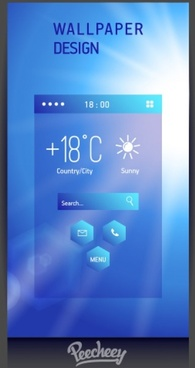 blue styled weather application design for mobile devices