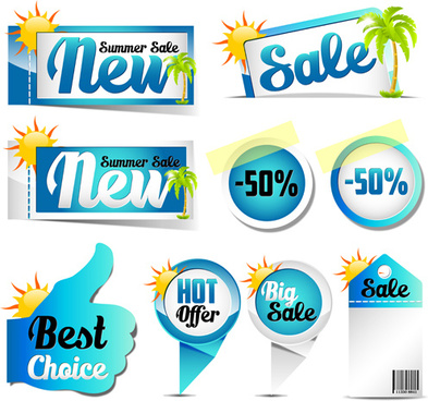 blue summer sale labels design vector