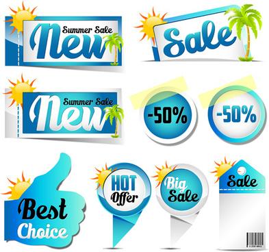 blue summer sale labels design vector