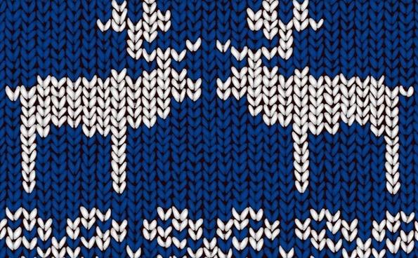 woolen background reindeers icons blue design