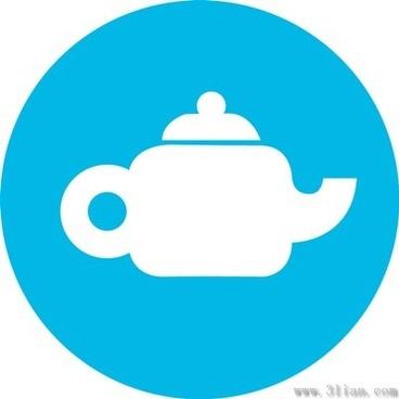 blue teapot icon vector