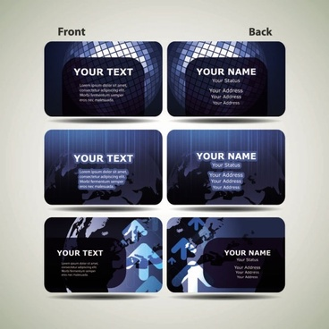 blue technology business card template 01 vector