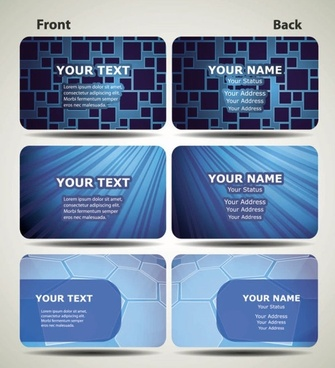 blue technology business card template 02 vector