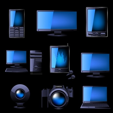 digital technology devices icons shiny modern realistic sketch