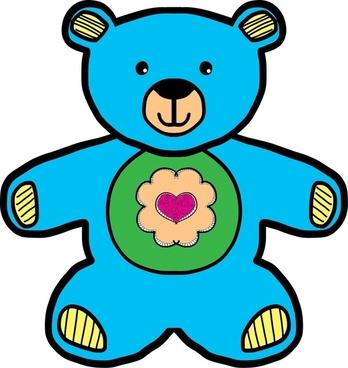 blue teddy bear drawing vector illustration