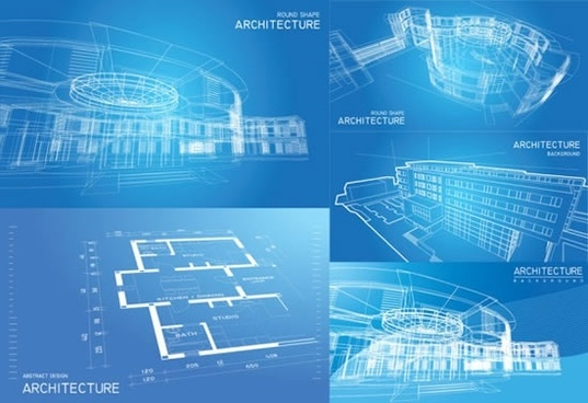 architecture backgrounds blue white modern 3d outline