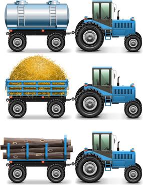 blue tractor creative vector