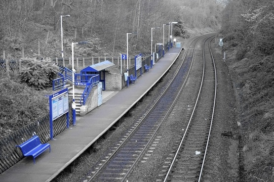 blue train station
