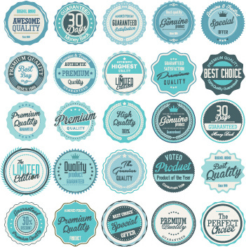 blue vintage labels circular vector