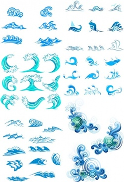 blue waves graphics vector