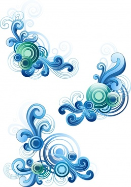 decorative waves elements modern colored symmetric curves