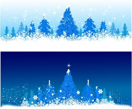 Blue winter Christmas trees