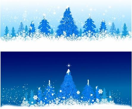 Blue winter Christmas trees