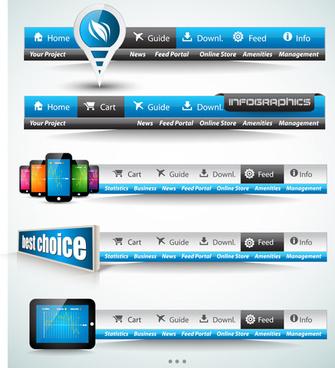 blue with black website navigation design vector