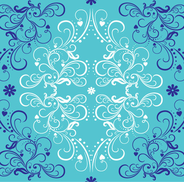 blue with white floral ornaments vector