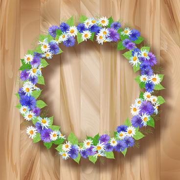 blue with white flower garland vector