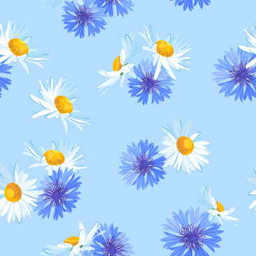 blue with white flower vector seamless pattern