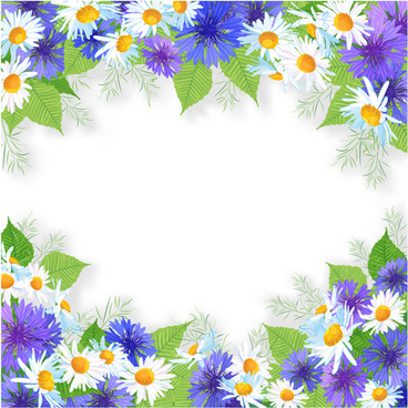 blue with white flowers frame background vector